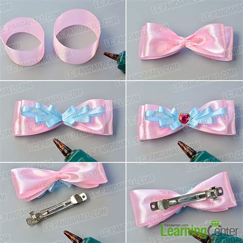 how to make clip how to make a pink and blue ribbon bow hair clip with pink