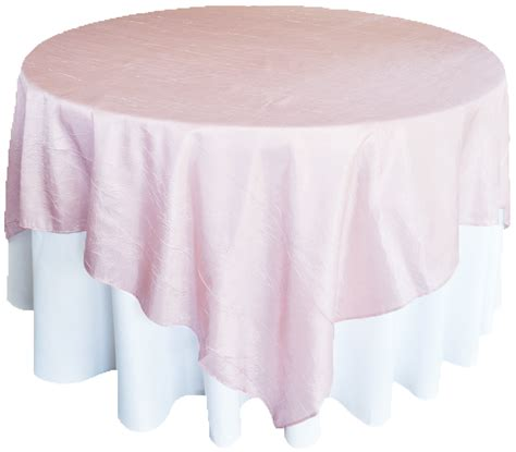 blush pink crushed crinkle taffeta table overlays toppers