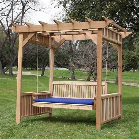 arbor swing set tmp outdoor furniture traditional cedar deluxe arbor porch