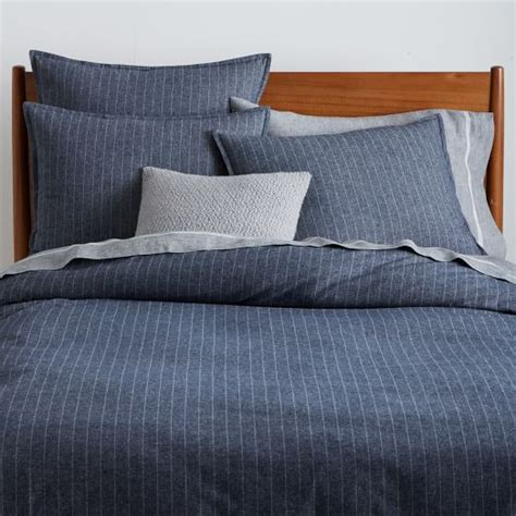 pinstripe bedding flannel pinstripe duvet cover shams midnight west elm