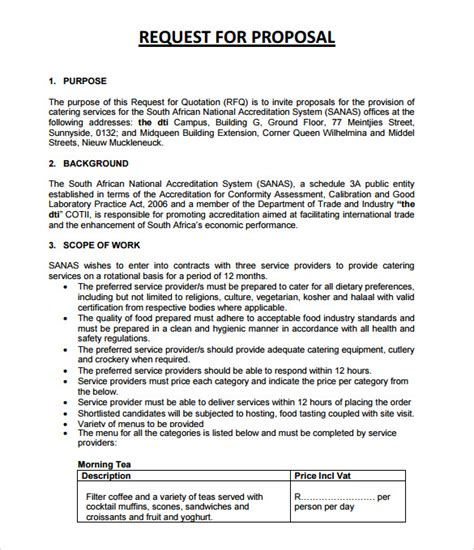 Request For Catering Template Sle Catering 6 Documemts In Pdf Word