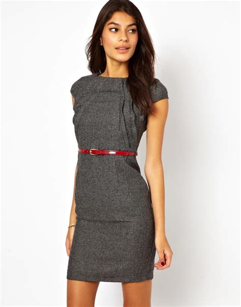 Dress With Belt lyst tweed pencil dress with belt in gray