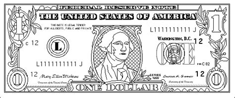us one dollar bill coloring page printout enchanted learning