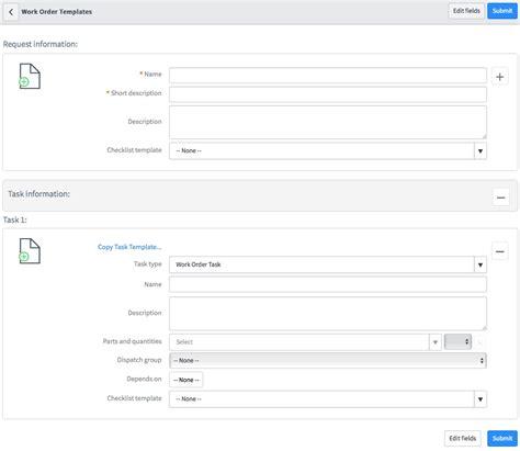 Create A Work Order Template Field Work Order Template