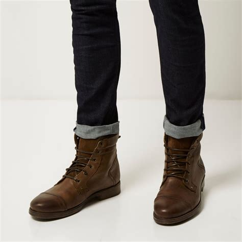 brown leather mens boots lyst river island brown leather utility boots in