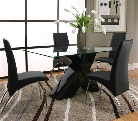 Glass Dining Room Table With Black Base Rectangular Tempered Glass Table Top With Polyester