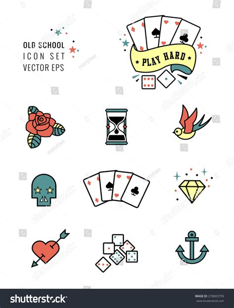 icon tattoo icon set rockabilly school stock vector