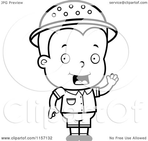 boy waving coloring page cartoon clipart of a black and white toddler safari boy