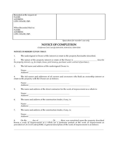 Notice Of Completion Template California Notice Of Completion Form Legal Forms And Business Templates Megadox Com