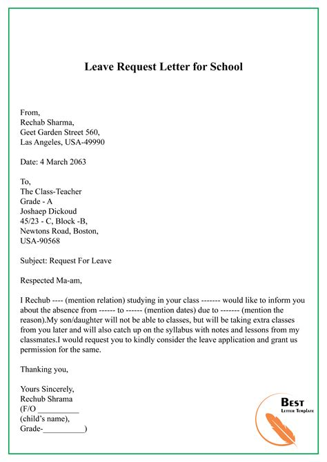 leave request letter school letter template