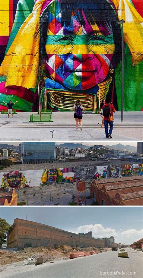 fotos antes depois  mostram como  arte urbana