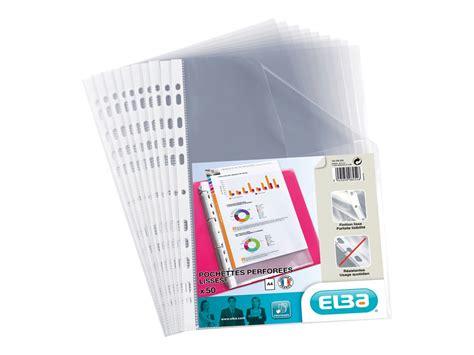 pochette bureau elba 50 pochettes perfor 233 es a4 incolore 4 100