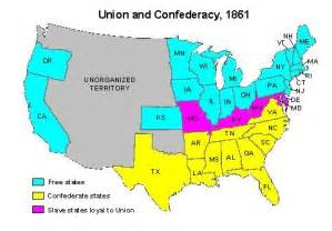 Map Of Union And Confederate States by Union Confederacy Map