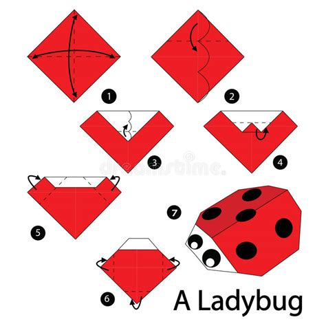 Origami Ladybug - step by step how to make origami a ladybug