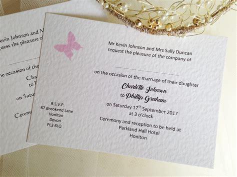 postcard wedding invites uk pink butterfly postcard wedding invitations