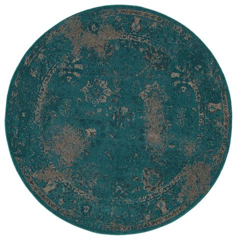 Teal Circle Rug by Dyed Style Indoor Teal Beige Area Rug 7 8