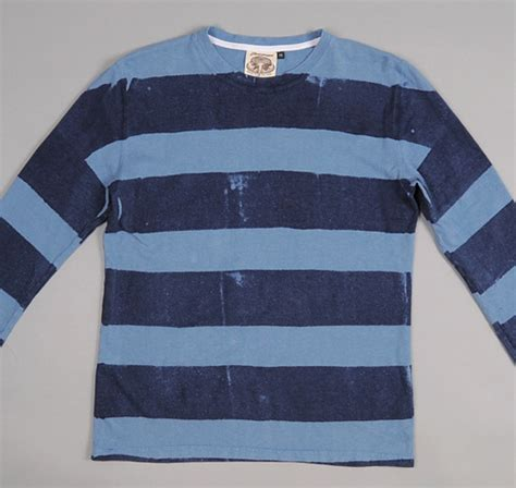 Ls 29 Sweatshirt Navy Mix Stripe sleeve hemp cotton blend stripe t shirt navy