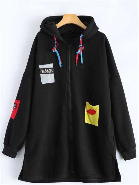Patchwork Plus - patchwork plus size zip up hooded coat in black