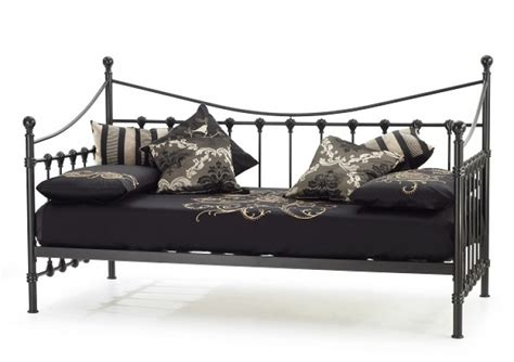 Black Metal Single Bed Frame Serene Marseilles 3ft Single Black Metal Day Bed Frame