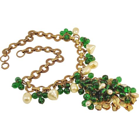 green beaded necklace miriam haskell green glass beaded necklace from