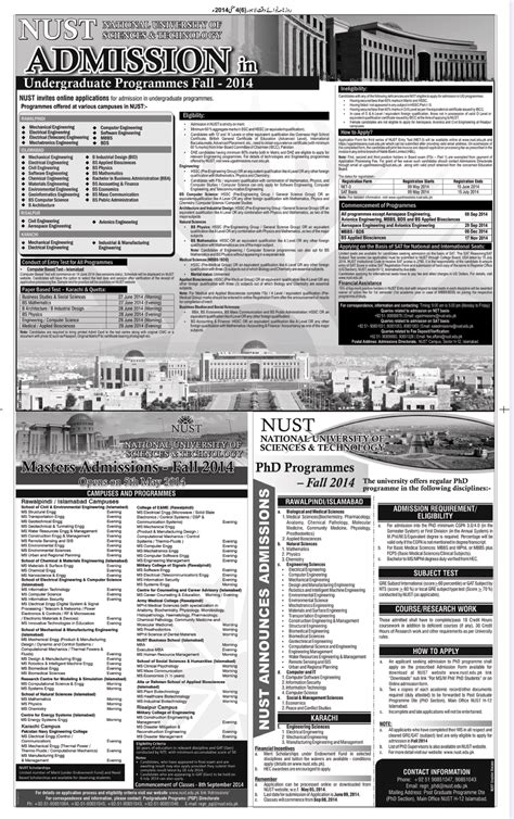 Nust Executive Mba Admission 2017 by Nust Admission 2017 For Graduate And