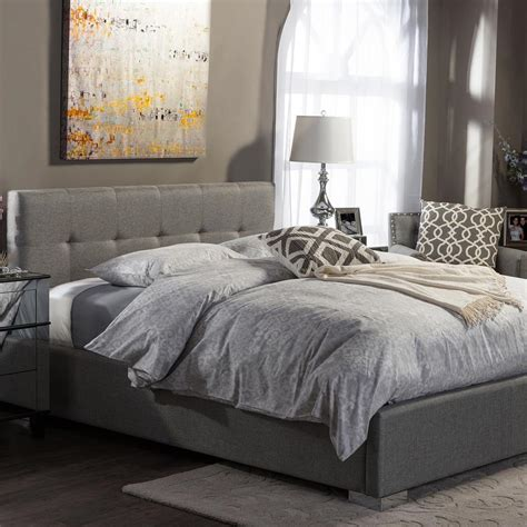 baxton studio king bed baxton studio regata gray king upholstered bed 28862 6691