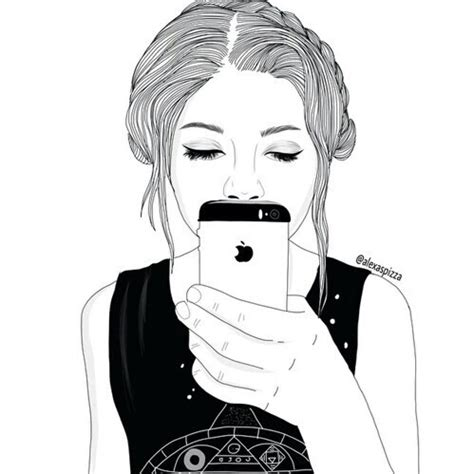 black, cartoon, draw, girl, phone image #3787824 by