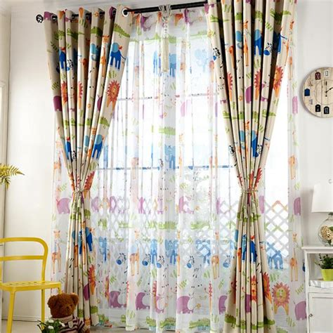 custom kids curtains colorful animal print polyester custom insulated kids curtains