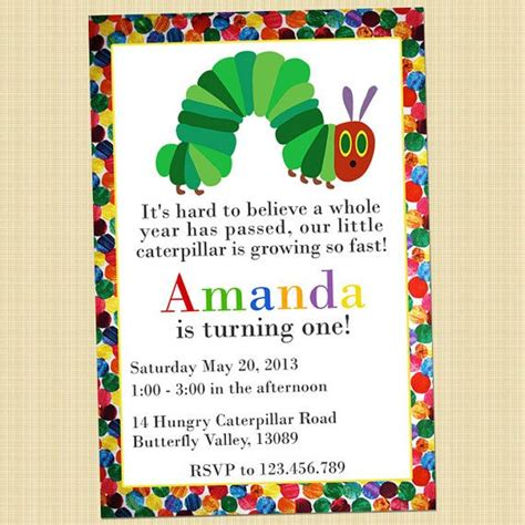 Hungry Caterpillar Birthday Card The Very Hungry Caterpillar Birthday Invitation Card