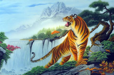 painting images pine trees and tiger painting by created by handicap artists