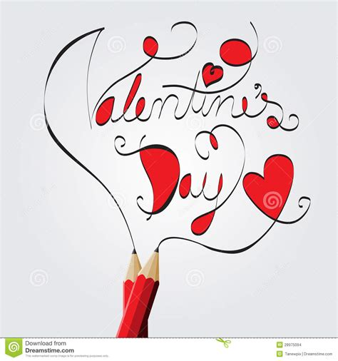 pencil drawing valentines day stock images image