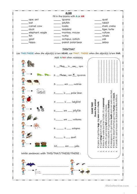 a an this that these those animals worksheet free esl