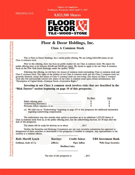 floor decor holdings inc form s 1 a april 17 2017