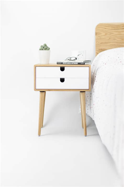 Oak wood white bedside table, nightstand , Mid Century