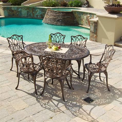Copper Patio Table Shop Best Selling Home Decor Hatian 7 Antique Copper Aluminum Patio Dining Set At Lowes