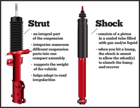 what are the differences between car struts and car shocks