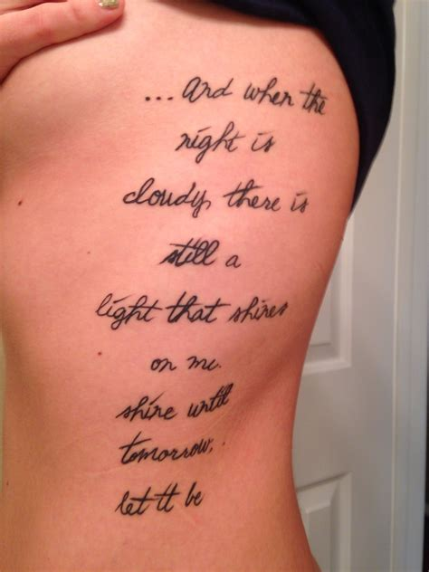 let it be tattoo the beatles rib let it be lyrics tattoos