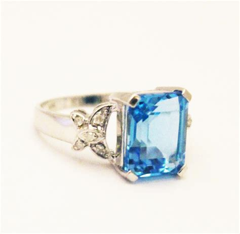 Change Topaz 1204 Ct 6 ct swiss blue topaz and ring in 10kt white gold from cham nyc on ruby