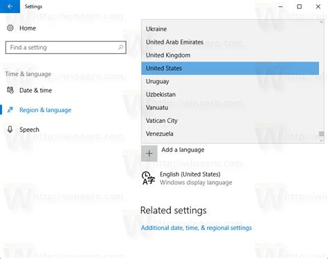 how to change region and home location in windows 10