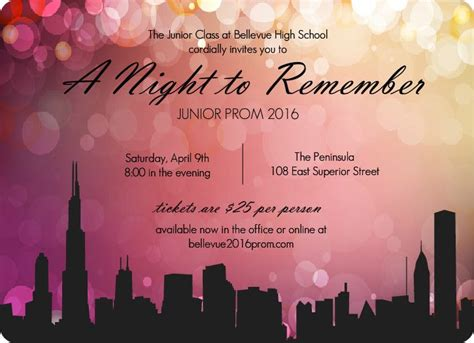 prom invite ideas prom decorations idea city scape prom night invitations