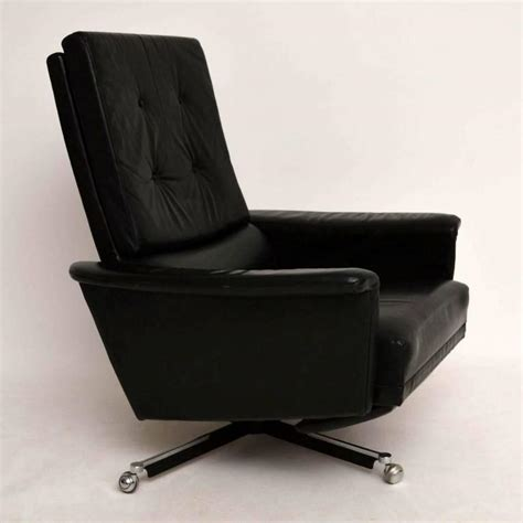 retro leather swivel reclining armchair vintage 1960s at