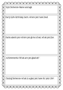 Autobiography Graphic Organizer by Miss Martin on the Go | TpT