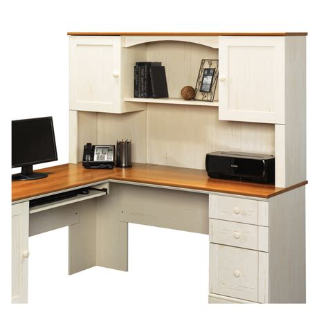 48 Desk With Hutch Shop Sauder Harbor View Antiqued White L Shaped Desk At