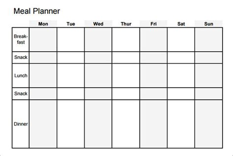 lunch calendar template sle meal planning template 16 free documents