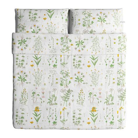 Burton Flower Pink Cover White ikea strandkrypa duvet cover pillowcases set botanical green yellow white pink floral