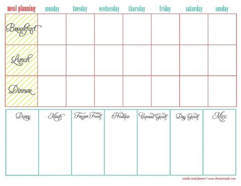 weekly meal planner template breakfast lunch dinner