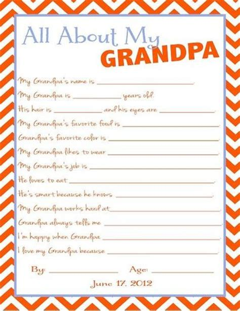 All About My Grandpa Printable Father S Day Preschool