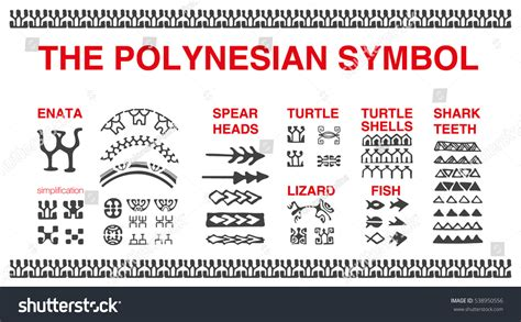 polynesian tattoo symbols polynesian symbols vector stock vector 538950556