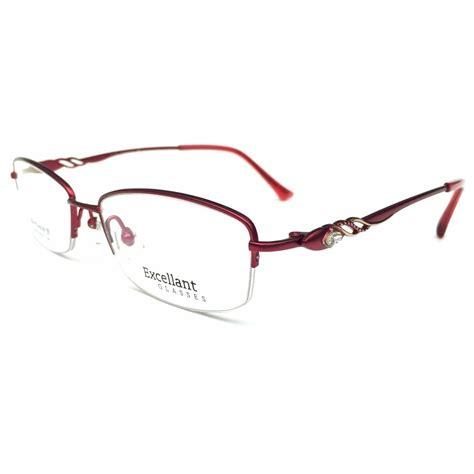 designer womens titanium half rimless eyeglasses frames rx
