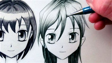 draw  manga face front view female youtube